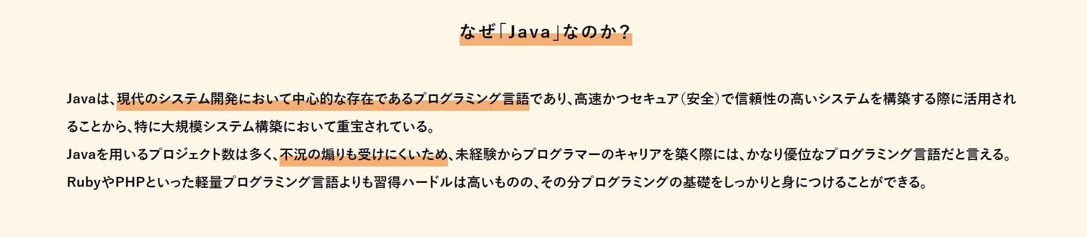 学べるプログラミング言語はJavaのみ